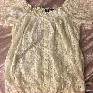 NWOT Completely lace elastic off the shoulder top